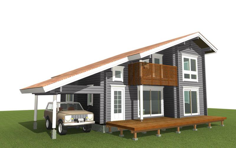 ガレージルーフ付きの総2階建て住宅用モデルです。