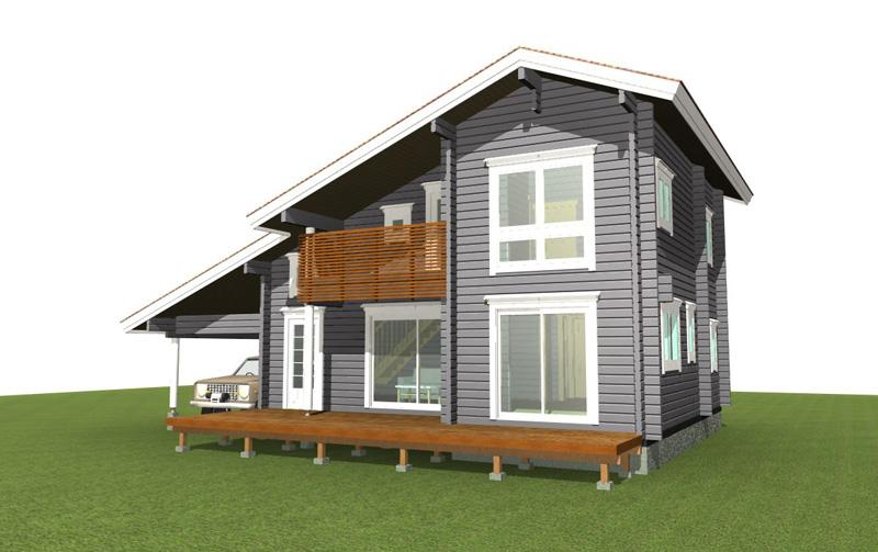 アシンメトリーな大屋根は当社で人気の高いスタイルです。2階の居住空間も充分。