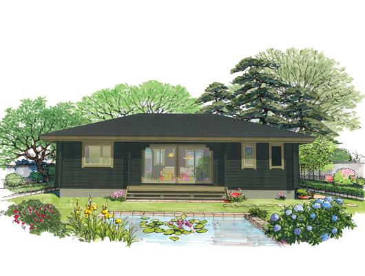 平屋 HI-36 寄棟屋根が和の印象を生む落ち着いた平屋