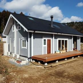 福島県平屋ログハウスの完成見学会