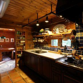 青いタイルが印象的なキッチンでは、地元の鉄職人につくってもらった換気扇フードが存在感を主張している